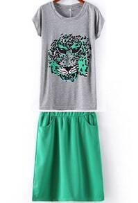 Green Batwing Short Sleeve Tiger Print T-Shirt With Skirt