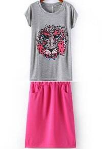 Rose Red Batwing Short Sleeve Tiger Print T-Shirt With Skirt
