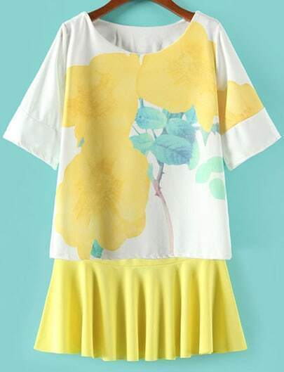 Yellow Vintage Floral Loose Top With Pleated Skirt