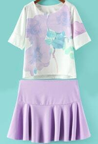 Purple Vintage Floral Loose Top With Pleated Skirt