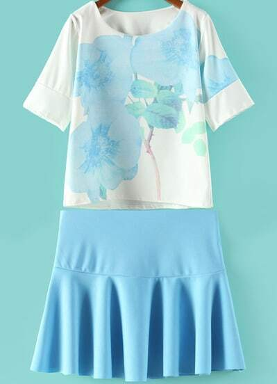 Blue Vintage Floral Loose Top With Pleated Skirt