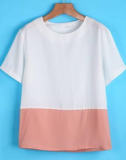white contrast pink short sleeve chiffon t