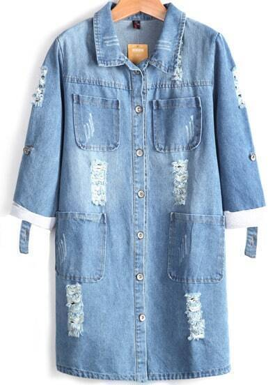 Blue Long Sleeve Ripped Pockets Denim Coat