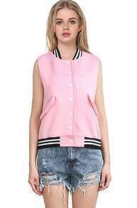 Pink Stand Collar Sleeveless Contrast Striped Vest