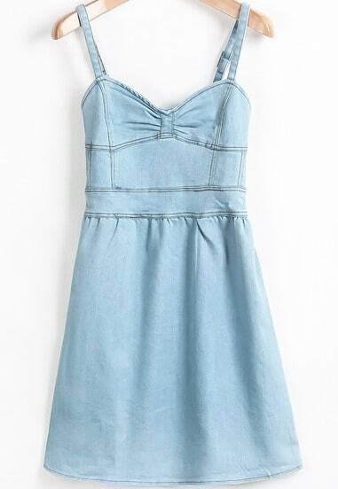 Blue Spaghetti Strap Bow Denim Dress