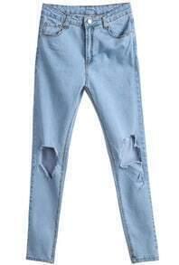 Blue Pockets  Knee Ripped Denim Pant