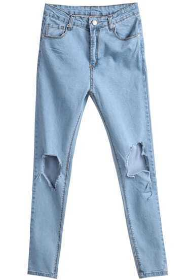 Blue Pockets  Knee Ripped Denim Pant