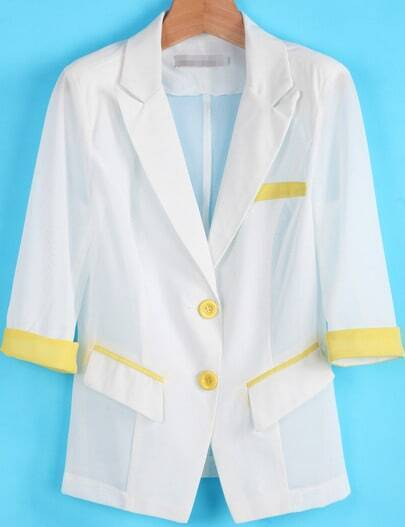 White Half Sleeve Sheer Mesh Yoke Blazer