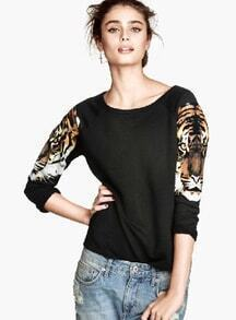 Black Round Neck Tiger Print Loose Sweatshirt