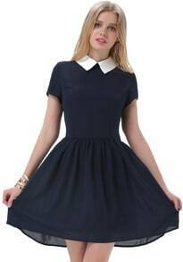 Navy Contrast Collar Short Sleeve Split Dress