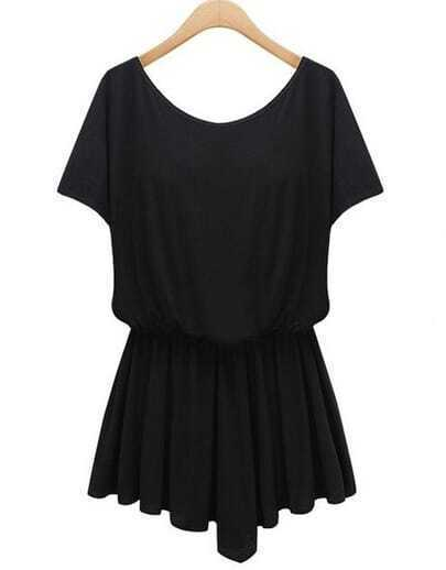 Black Short Sleeve Asymmetrical Loose Dress