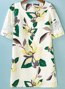 White Short Sleeve Contrast Lace Leaves Print Dress
