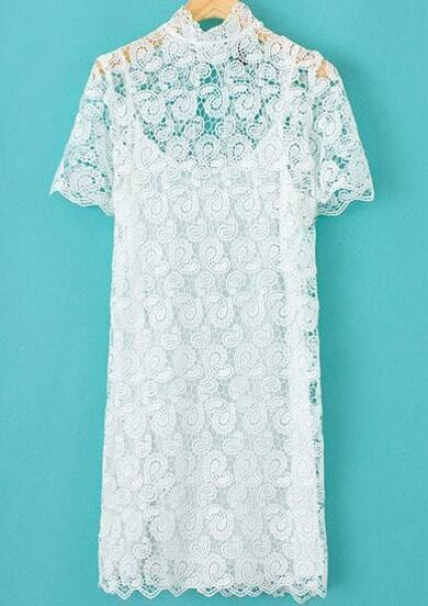 White Short Sleeve Floral Crochet Lace Dress