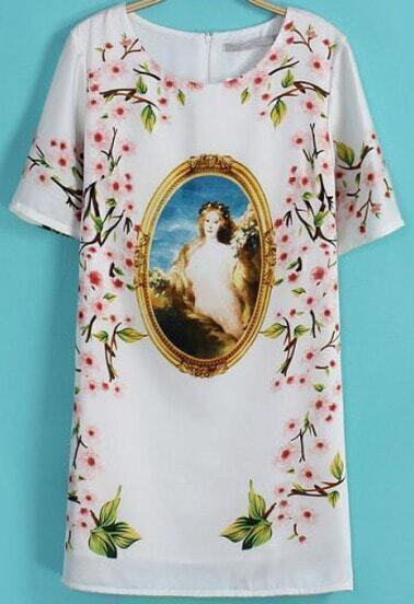 White Short Sleeve Vintage Floral Chiffon Dress