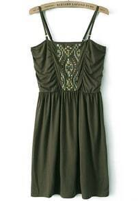 Green Spaghetti Strap Bead Pleated Dress