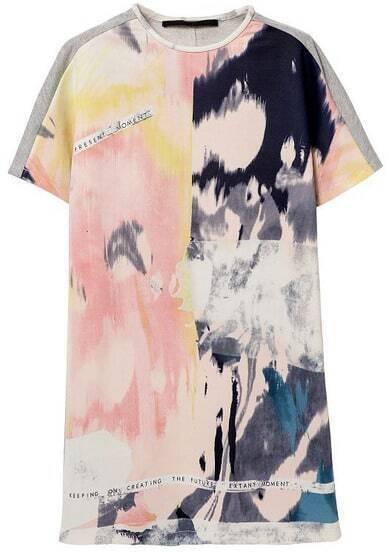 Pink Short Sleeve Graffiti Print Dress