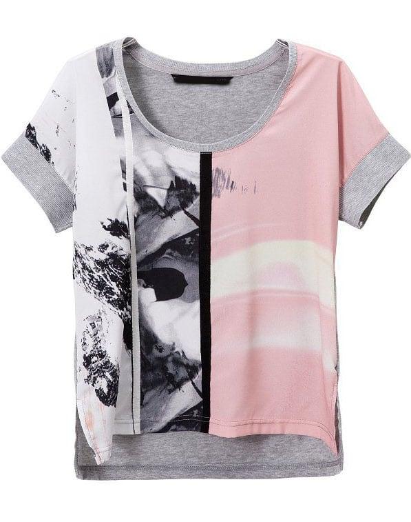 Grey pink short sleeve digital print t shirt shein sheinside for Digital printed t shirts
