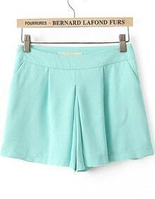 Green Casual Pleated Skirt Shorts