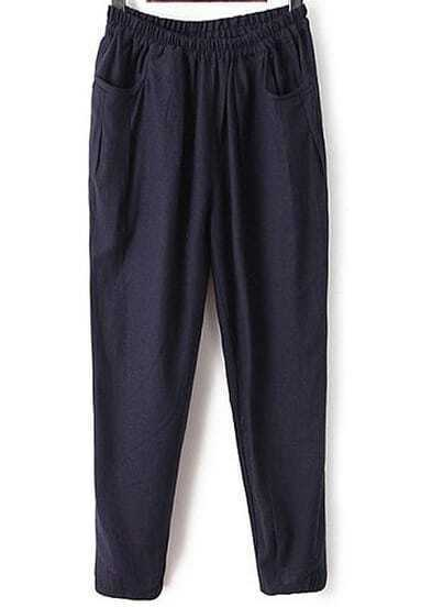 Navy Elastic Waist Pockets Loose Pant