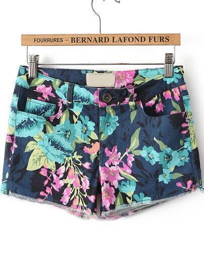 Navy Mid Waist Slim Floral Shorts