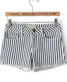 Navy White Vertical Stripe Mid Waist Shorts