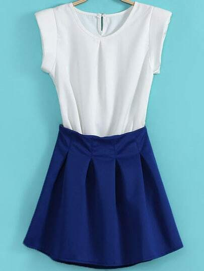 White Short Sleeve Top With Blue Pleated Skirt