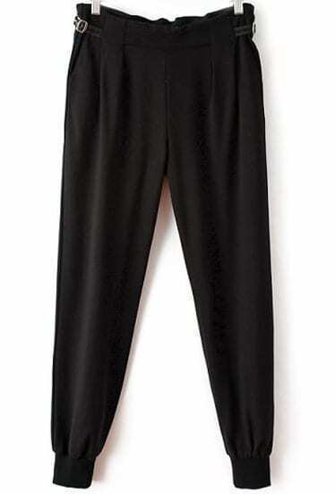 Black Buckle Pockets Loose Pant