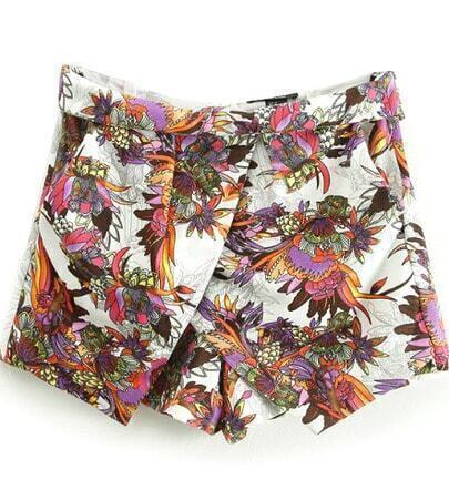 White High Waist Floral Skirt Shorts
