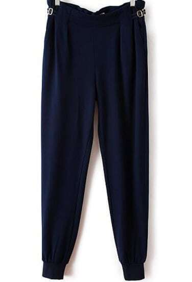 Navy Buckle Pockets Loose Pant