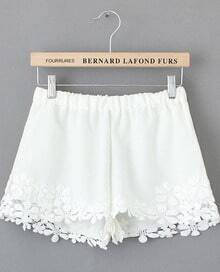 White Lace Floral Crochet Shorts