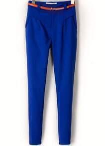 Blue Pockets Slim Crop Pant
