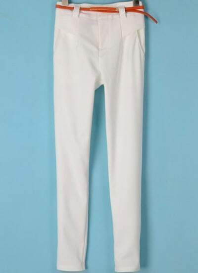 White Pockets Slim Crop Pant