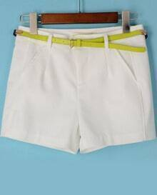 White Pockets Loose Straight Shorts