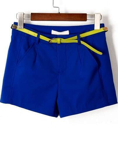Blue Pockets Loose Straight Shorts