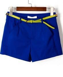 Blue Pockets Loose Straight Shorts