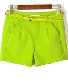 Neon Green Pockets Loose Straight Shorts