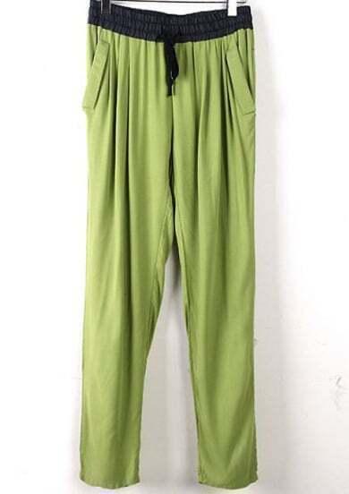 Green Drawstring Waist Pockets Loose Pant