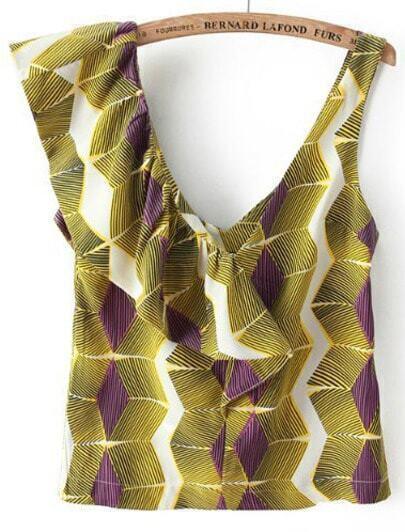 Green V Neck Geometric Print Ruffle Blouse