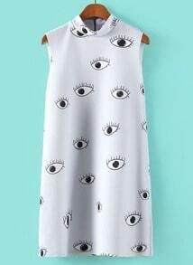 Light Blue Stand Collar Eyes Print Straight Dress