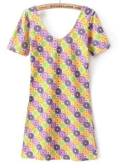 Yellow V Neck Short Sleeve Floral Slim Dress