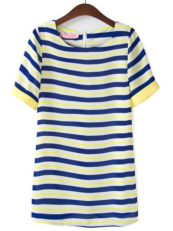 Blue and yellow striped dress shirt