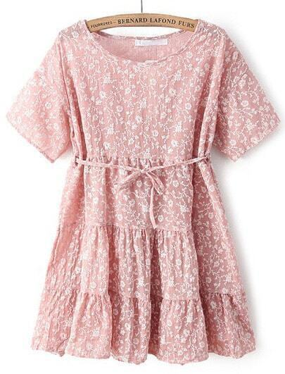 Pink Short Sleeve Embroidered Pleated Lace Dress