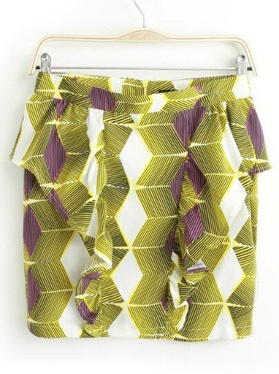 Green Ruffle Geometric Print Bodycon Skirt