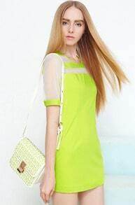 Green Short Sleeve Contrast Mesh Yoke Dress