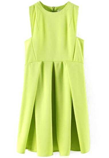 Neon Green Round Neck Sleeveless Ruffle Flare Dress