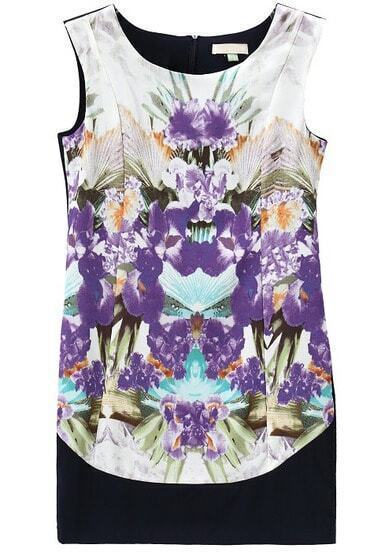 Black Sleeveless Purple Floral Chiffon Dress