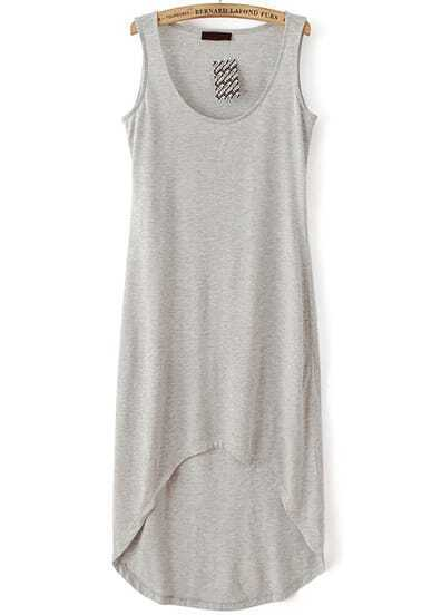 Grey Sleeveless High Low Tank Dress