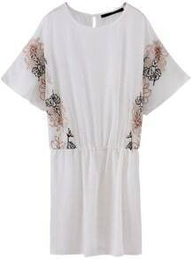 White Short Sleeve Embroidered Chiffon Dress
