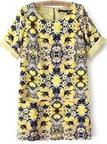 Yellow Short Sleeve Floral Chiffon Loose Dress