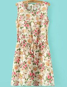 Beige Sleeveless Floral Pleated Chiffon Dress